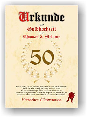 Urkunde zum 50. Hochzeitstag - Goldhochzeit - Geschenkurkunde Goldene Hochzeit personalisiertes Geschenk Karte zum Ehrentag XXL DIN A4