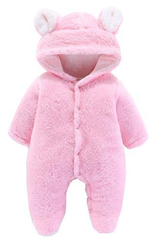 Urban Virgin Newborn Baby Boys Girls Bear Snowsuit Winter Clothes Outfits Warm Fleece Hooded Romper Jumpsuits Pink