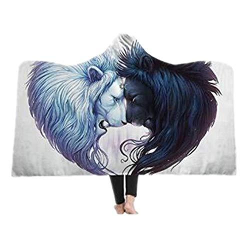 3D Tier Wolf mit Kapuze Decke Super Weiche Tagesdecken Wohndecke Kuscheldecke Schlafdecke Sofadecke für Kinder Erwachsene (Style 2, 130 * 150cm)