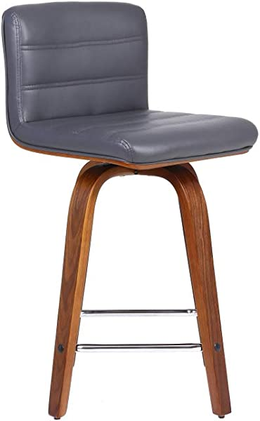 Phoenix Home CH190218 Grey Faux Leather Counter Height Barstool 26 Walnut Wood Finish