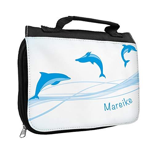 Kulturbeutel mit Namen Mareike und Delfin-Motiv für Mädchen | Kulturtasche mit Vornamen | Waschtasche für Kinder