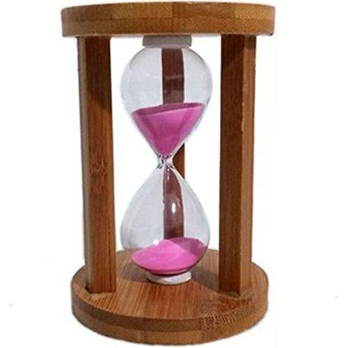 Ampulheta Madeira E Vidro Relógio De Areia 5 Minutos Azul