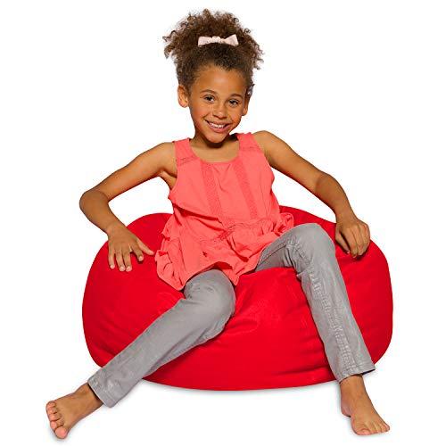 Posh Beanbags Bean Bag Chair, Medium-27in, Solid Red