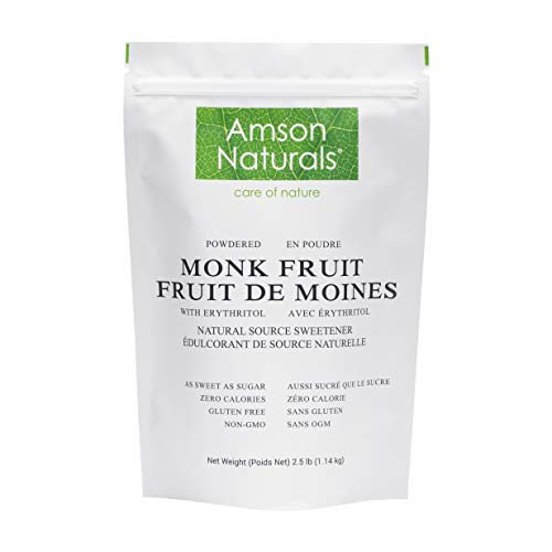 Monk Fruit Sweetener with Erythritol 2.5 lb / 1.14 Kg / 40 oz (Powdered) - 1:1 Sugar Substitute, Natural Source Tabletop Sweetener, No Calorie, Non-GMO, Gluten Free.