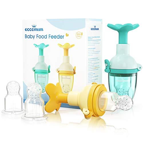Eccomum - Chupete de Frutas/Comida para Bebés (2 piezas), Alimentador Antiahogo Bebe, Mordedor, Tuguete para Estimular la Dentición y el Apetito de los Bebés, Incluye Bolsas de Silicona