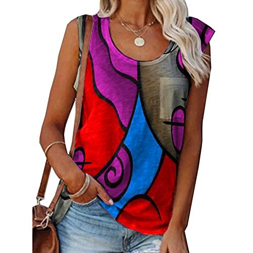 Camiseta De Verano para Mujer Chaleco Sin Mangas A Juego De Colores Tops Sueltos Impresos Ropa De Mujer Informal
