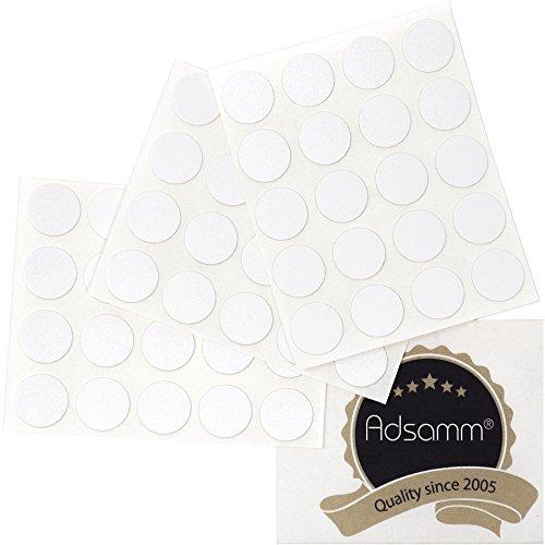 Adsamm® | 60 x Abdeckkappen | Ø 13 mm | Weiß | rund | 0,45 mm dünne selbstklebende Möbelpflaster von Adsamm®