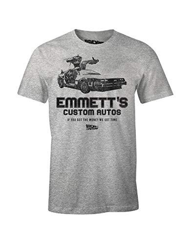 Cotton Division Ritorno al Futuro Maglietta da Uomo Emmett's Custom Cars Delorean Grey - M
