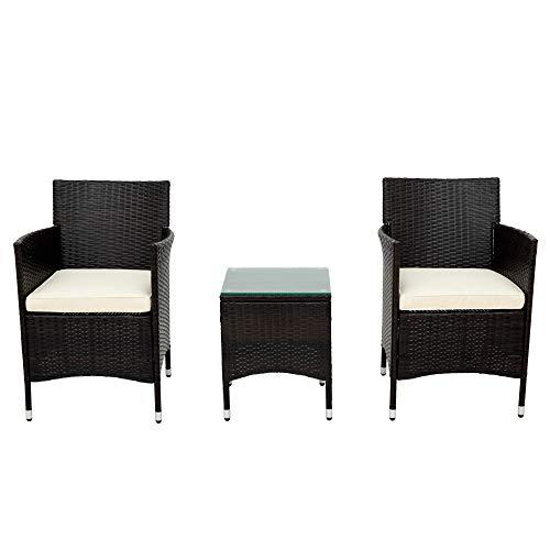 Belissy Juego de muebles de jardín de ratán, sillones de exterior resistentes a la intemperie, sillones de modernos,muebles de jardín de polirratán para 2 personas,1 mesa y 2 sillones, (ratán marrón)