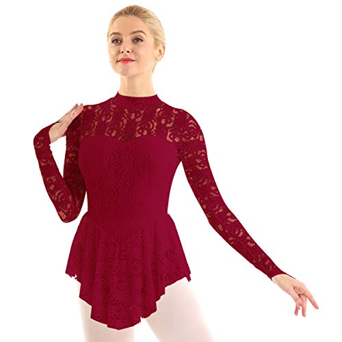 ranrann Vestido de Patinaje Artístico Encaje para Mujer Manga Larga Maillot de Ballet Gimnasia Rítmica con Falda Disfraz de Bailarina Leotardo Body de Danza Vino Rojo Medium