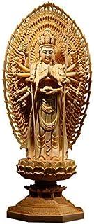 仏像 木彫り 置物 観音像 千手観音 桧木 木製彫刻 風水 開運 仏壇仏像 祈る 厄除け お守りお洒落な置くもの 開運