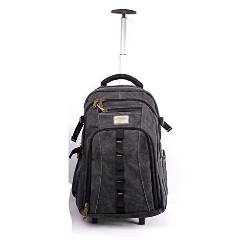 QWERASD Mochila de viaje de negocios superligera con ruedas para ordenador portátil, tablet, ordenador, maleta, equipaje de mano, color negro, pequeño