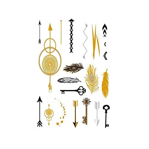 Autocollants de tatouage bronzage rétro autocollants de tatouage imperméables ensemble autocollants d'impression de couleur argent chaud-YH-065_148 * 210MM