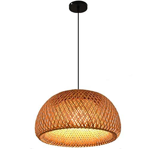 Retro Pendelleuchte Esszimmer Hängeleuchte Landhaus-stil Esstisch-Lampe Warmweiß Natürlichen Handgewebt Bambus Oval Lampenschirm Höhenverstellbar Kronleuchter für Küche Restaurant Wohnzimmer,45cm