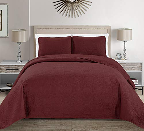 MK Home Mk Collection Solid Embossed Bedspread Bed Cover Over Size...