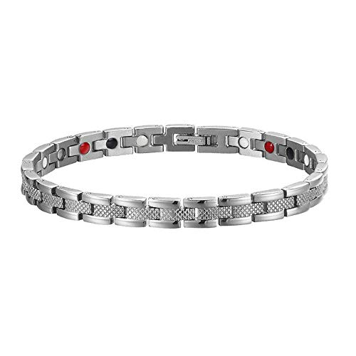 Magnetic Bracelet Men Women Stainless Steel Silver 4 Elements Bracelet with Magnets, Far Infrared, Germanium and Negative Ions. Great Gift Idea. (20.5cm)