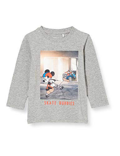 NAME IT Jungen NMMMICKEY Emil LS TOP WDI Sweatshirt, Grey Melange, 110