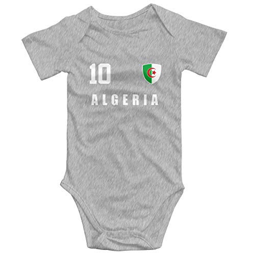 Yuanmeiju Algeria Jersey Style Footballer Number All 10 Sporter Baby,Unisex Solid Multicolor Baby Monos 0-24 Months