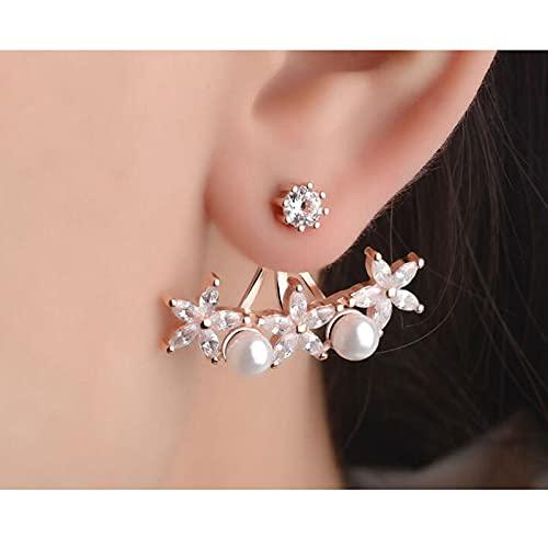 DFDLNL Pendientes para MujerPerlas Hojas Flor Pendientes de botón Pendientes Boucle D'oreille Femmes Regalo Rosegold