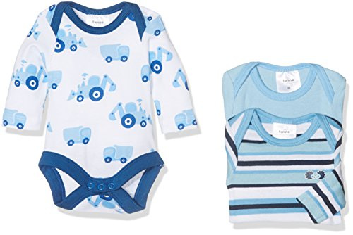 Twins Unisex Baby Langarm-Body im 3er Pack, Gr. 56, Mehrfarbig (micro chip 144105)