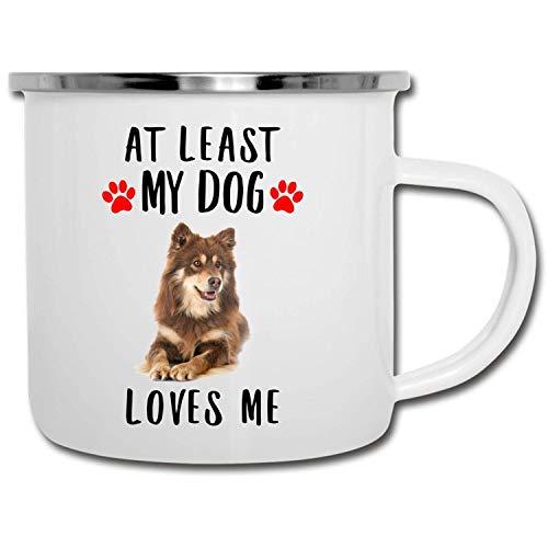 N\A Divertido Lapphund finlandés marrón Rojo Al Menos mi Perro me ama esmaltado Camper Mug 11oz