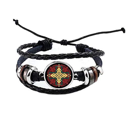 Celtic Jewelry-rojo y amarillo Knotwork Mandala-1 pulgada de diámetro pulsera de cristal brazalete #307