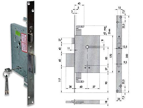 Cisa 5038D4 57255-60-0 SERRATURA DOPPIA MAPPA INFIL TRIPL S/A, Dimensioni 170x117 mm. Entrata 60 mm