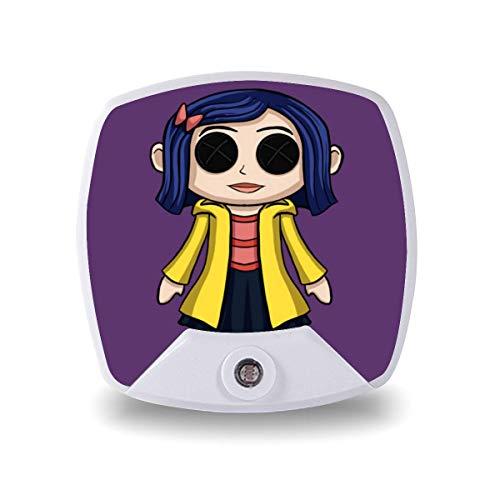 Coraline Doll Chibi, luz nocturna para niños, adultos, lámpara de cabecera, lámpara LED, regalo personalizado para dormitorio/oficina/pasillos
