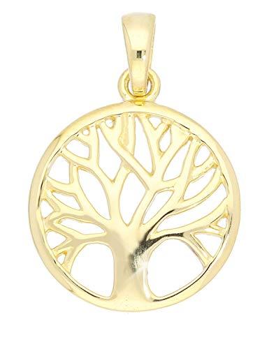 Lebensbaum Anhänger (Ohne Kette) Gelbgold 375 Gold (9 Karat) Ø 14mm Baum Goldanhänger Kettenanhänger Botany A-07786-G601