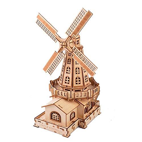 YAMAXUN 3D-Holzpuzzle, 127-Teilige Holländische Windmühle Lasergeschnittenes Holzbausatz-Modellbaugruppen-Puzzle - Kreatives Geschenk Für Kinder Und Erwachsene