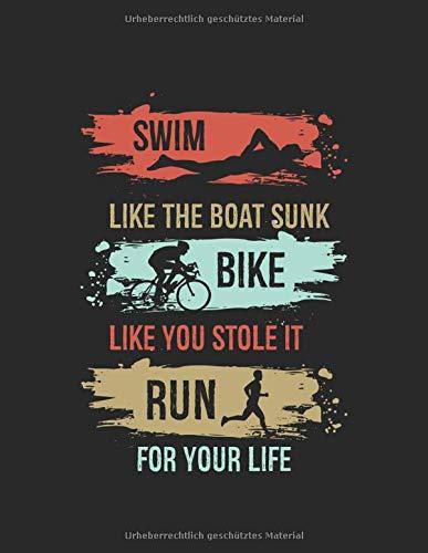 Mein Triathlontagebuch: Trainingstagebuch für alle Triathleten ♦ Laufen, Schwimmen, Radfahren ♦ Logbuch für über 300 Einträge ♦ großzügiges A4+ Format ♦ Motiv: Swim bike run 6