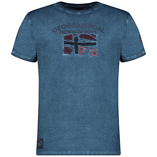 Geographical Norway JOTZ Men - Camiseta De Algodón para Hombre - Camisetas Clasico Logo Graphic - Modelo Manga Corta - Cuello Redondo Regular Fit - Regalo Original para Hombre (Azul XL)