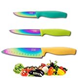 Iridescent Rainbow Coloured Knife Set - Full Range of Sizes/Types: Paring, All Purpose, Santoku, Chef, Bread, Carving. by Taylors Eye Witness