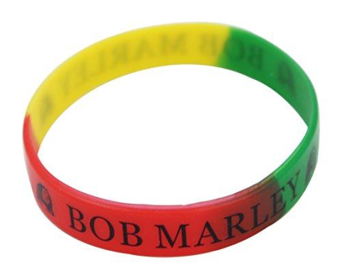 Komonee Bob Marley Rasta Silikon-Armband (1er Pack)