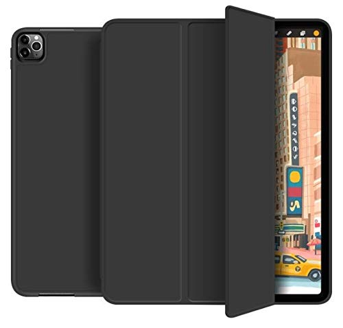 Tech-Protect SC Pen Designed for iPad Pro 11 2018/2020 SmartCase with Pencil Holder, Lightweight Slim Protective, Soft TPU Back Cover with Auto Wake/Sleep for iPad iPad Pro 11 2018/2020, Black