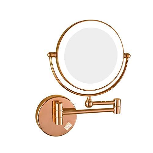 SHINY X-LOVE 7X Maquillage Miroir Mural De 8 Pouces Double Face Pliante LED De Bain Grossissant Miroir Escamotable Pivotant À 360 ° Illumination Miroir (Color : B)