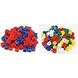 Unbekannt Dick-System 170100 100 Steckwürfel, rot/blau & 170100 100 Steckwürfel, 5 farbig