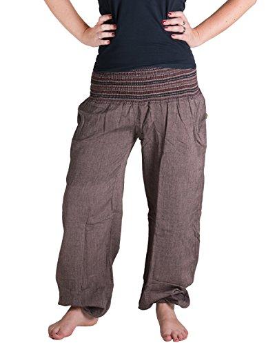 Vishes – Alternative Bekleidung – Sommer Chino Haremshose aus Baumwolle mit super elastischem Bund – handgewebt (Einheitsgröße 32 bis 42, steinbraun)