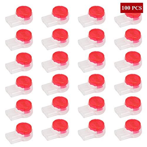 WOWOSS 100 Stück UR2 Kabelspleißanschlüsse Klemmen wasserdichte Spleißklemmen Quick Splice Elektrische Kabelklemmen für Kabeldaten Telefonkabel(3 Löcher, rot)