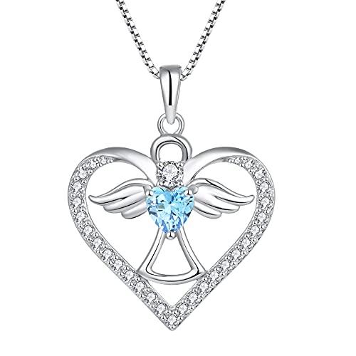 FJ Collar con colgante de ángel de la guarda de plata de ley 925 para mujeres y niñas,