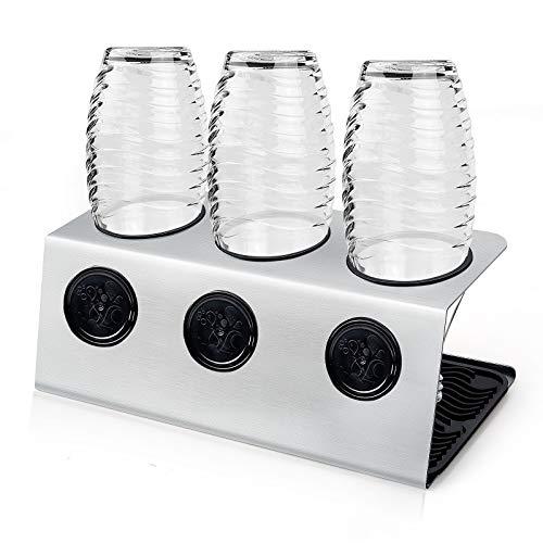 ZWOOS Flaschenhalter mit Abtropfmatte für Crystal und Emil Flaschen - Abtropfhalter aus Edelstahl mit Deckelhalterung - Glatter Rand (3er)