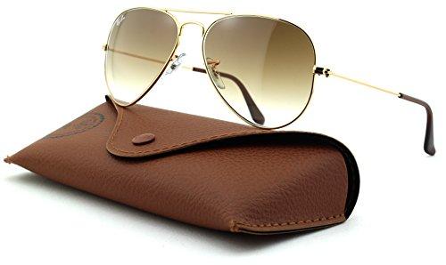 Gafas de sol unisex metálicas grandes de estilo aviador Ray-Ban RB3025 con lentes de color en degradado, (Marco Dorado/Cristal Marrón Gradiente 001/51), Medium