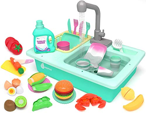 KIDPAR 28 Pcs Color Changing Kitchen Play Sink Toys for Kids Toddler Electric Dishwasher with Running Water, Automatic Water Cycle System, Cutting Food, House Pretend Role Play Toys