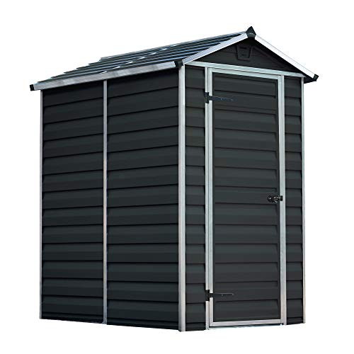 WALTONS EST. 1878 Plastic Shed 4x6 Outdoor Garden Storage Building, Tool Store, Grey, Apex Roof (4ft x 6ft)