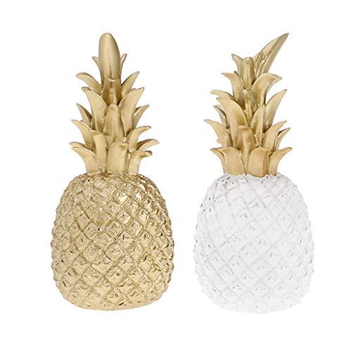2pcs Fruta Artificial de Piña, Accesorios de Decoración de Casa Tienda de Color Oro y Blanco