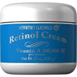 Retinol Cream, 8 Ounces, Vitamin A 100,000 IU ' 2 PACK ' by Vitamin World