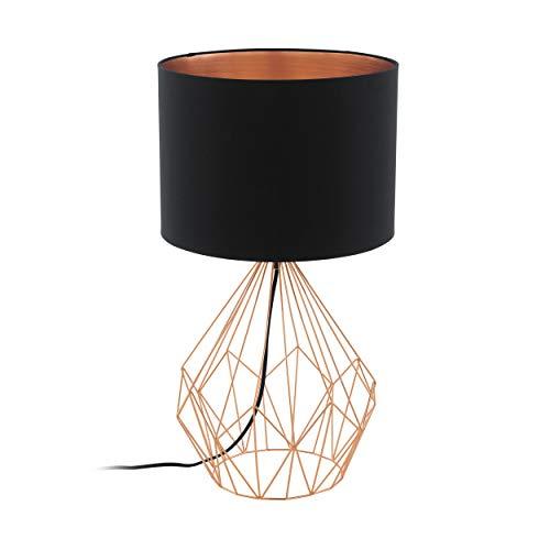 EGLO Tischlampe Pedregal 1, 1 flammige Tischleuchte Vintage, Industrial, Retro, Nachttischlampe Stahl und Textil in Schwarz und Kupfer, Lampe mit Schalter, E27 Fassung