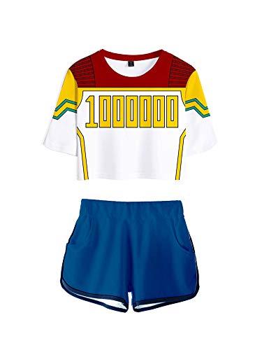 GuliriFe Mi héroe Academia Bakugou Katsuki Cosplay Disfraz animadora Uniform Crop Top Shorts Set azul, amarillo M
