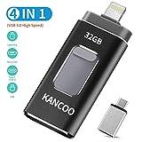 Chiavetta USB 3.0 32GB 4 in 1 Memoria USB Flash Drive per iPhone iPad e PC Laptop, Pen Drive per Dispositivi con Apple/iOS/Android/USB C/Micro USB/Tipo C Porta - Nero