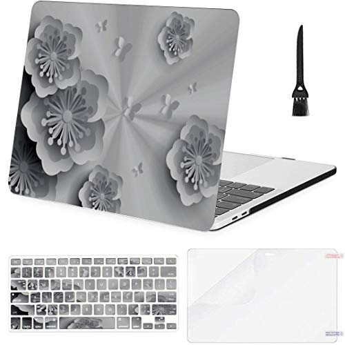 "Laptop Case Best 3D Paper Flowers Background Plastic Hard Shell Compatible Mac Air 11"" Pro 13"" 15"" Case Protection & Keyboard Cover & Screen Protector & Keyboard Cleaning Brush"